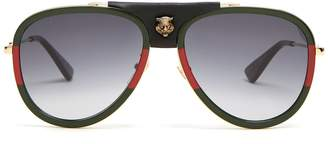 Gucci Aviator striped metal sunglasses