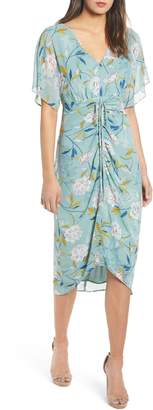 Leith Floral Ruched Midi Dress