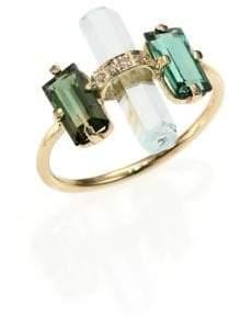Jacquie Aiche Green Tourmaline, Aquamarine, Diamond& 14K Yellow Gold Bar Ring