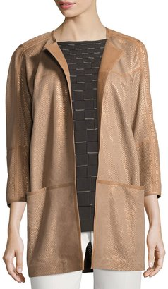 Lafayette 148 New York Maureen Perforated-Leather Jacket, Bronze $799 thestylecure.com