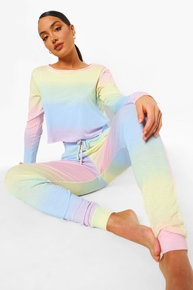 boohoo Ombre Long Sleeve And Jogger Lounge set