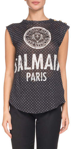 Balmain Sleeveless 3-Button Logo-Print T-Shirt