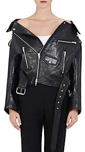 Balenciaga Women's Off-The-Shoulder Leather Biker Jacket-1069-noir, Noir