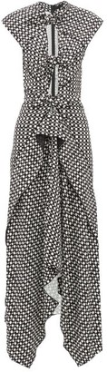 Proenza Schouler Knotted Cut Out Checked Maxi Dress - Womens - Black White