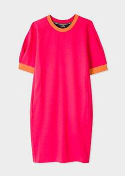 Women's Fuchsia Cotton Sweater Dress With Contrast Back Panel