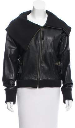 Madison Marcus Knit-Trimmed Leather Jacket