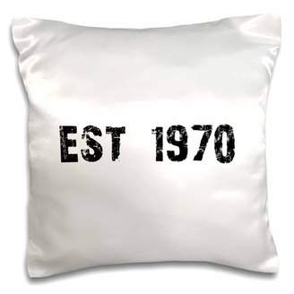 3dRose Grunge Est Established in 1970 - Seventies Baby Born Child of the 1970s - Personal custom birth year, Pillow Case, 16 by 16-inch