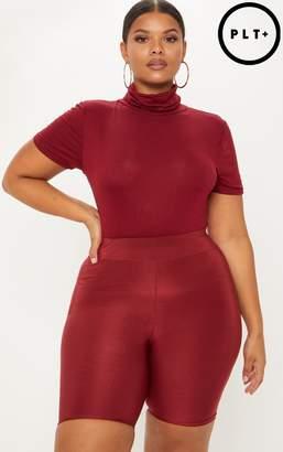 PrettyLittleThing Plus Burgundy High Neck Short Sleeve Bodysuit