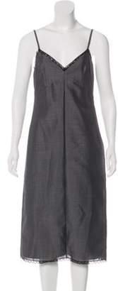 Prada Lace-Accented Midi Dress Grey Lace-Accented Midi Dress