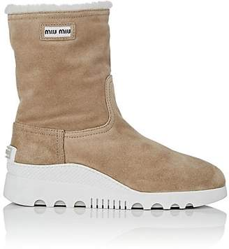 Miu Miu Women's Shearling-Lined Suede Ankle Boots - Deserto
