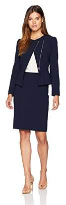 Tahari by Arthur S. Levine Women's Long Sleeve Skirt Suit with Asymetrical Collar