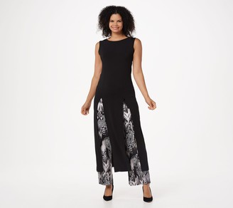 Women With Control Attitudes by Renee Petite Como Jersey Duster w/ Pant Set