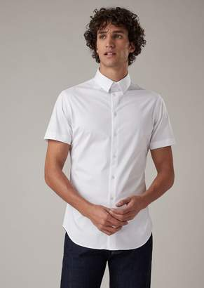 Giorgio Armani Short-Sleeved, Slim-Fit Shirt In Plain-Colored Jersey