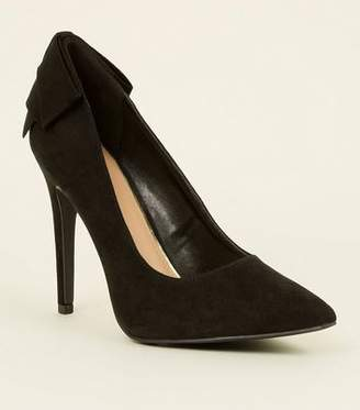7be35190d17e New Look Wide Fit Suedette Black Bow Back Courts
