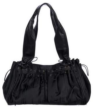 John Galliano Leather-Trimmed Shoulder Bag Black Leather-Trimmed Shoulder Bag