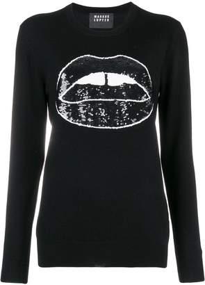 Markus Lupfer Natalie sequin Lara lip sweater