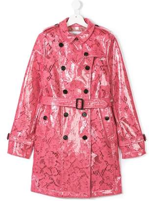 Burberry glossy lace trench coat