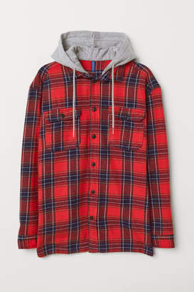 H&M Flannel Shirt with Hood - Red