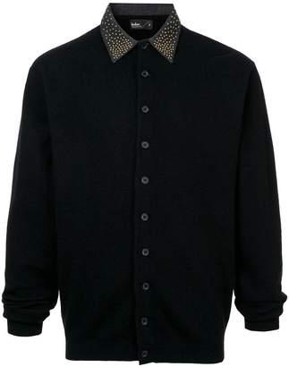 Kolor studded collar knitted shirt