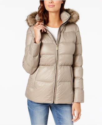 Michael Kors Faux-Fur-Trim Hooded Puffer Coat