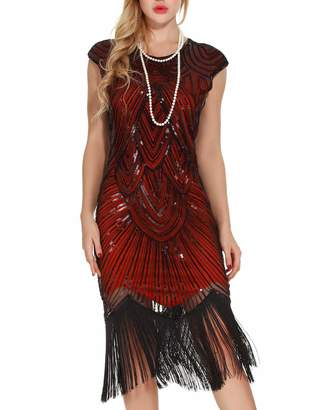 At Canada Uniq Sense Women S 1920s Fler Dresses Sequined Beaded Fringed Emblished Great Gatsby