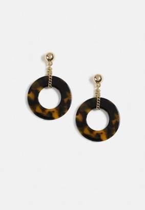 Missguided Brown Tortoiseshell Chain Drop Hoop Earrings
