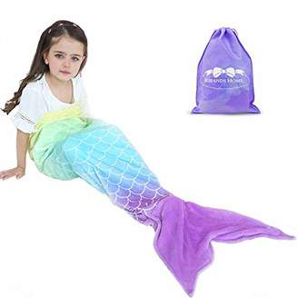 RIBANDS HOME Cozy Mermaid Tail Blanket for Kids and Teens Soft Flannel Fleece Wrapping Cover with Colorful Ombre Fish Tail – All Seasons Plush Sleeping and Napping Coverlet (Ages 3-16)