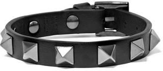 Valentino Garavani The Rockstud Leather And Silver-tone Bracelet