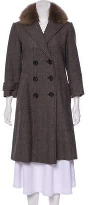 Robert Rodriguez Fur-Trimmed Tweed Coat