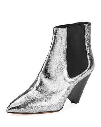 Isabel Marant Lashby Cone-Heel Metallic Bootie