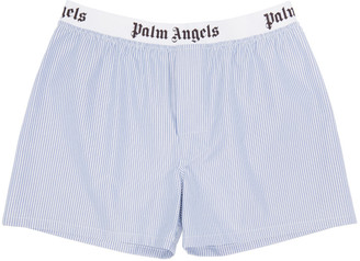 Palm Angels Blue Pinstripe Oxford Boxers $130 thestylecure.com