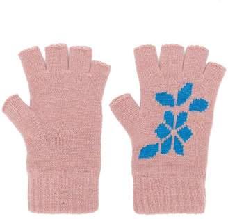 Barrie New Delft cashmere fingerless gloves