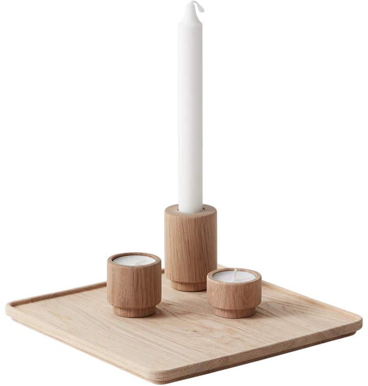 Andersen Furniture - Create Me Set 3, Eiche (Tablett 24 x 24 cm, 3 x Teelichthalter H 3,5 cm / H 5 cm / H 7,5 cm)