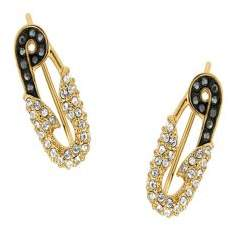 Karl Lagerfeld Safety Pin Swarovski Crystal-Embellished Ear Climbers