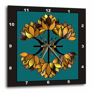 3dRose Golden Stained Glass, Wall Clock, 13 by 13-inch