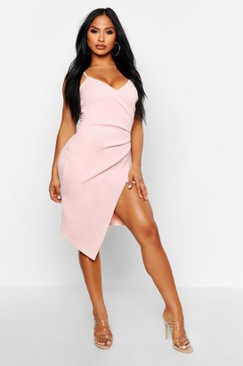 boohoo Strappy Wrap Pleated Bodycon Midi Dress