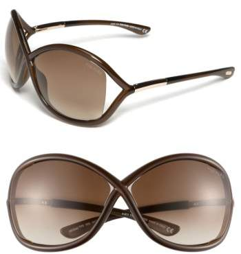 Women's Tom Ford 'Whitney' 64Mm Open Side Sunglasses - Dark Brown