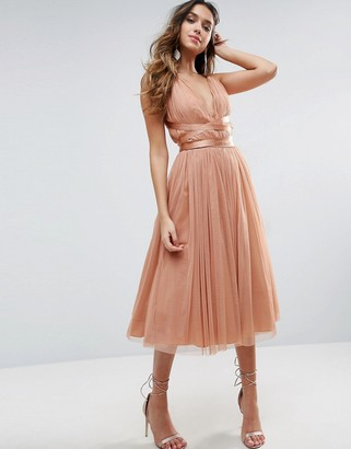 ASOS PREMIUM Tulle Midi Prom Dress With Ribbon Ties $83 thestylecure.com