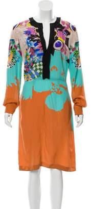 Etro Abstract Print Long Sleeve Dress Orange Abstract Print Long Sleeve Dress