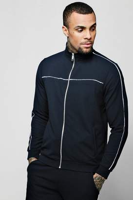 boohoo Crepe Piped Detail Smart Track Top