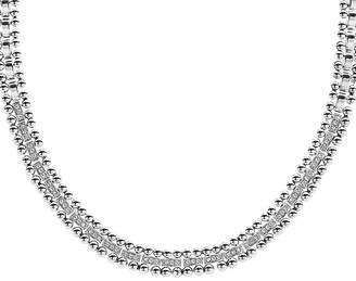 "Lagos Sterling Silver Caviar Spark Diamond Collar Necklace, 18"""