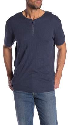 John Varvatos Short Sleeve Variegated Rib Henley