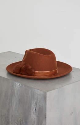 BCBGMAXAZRIA Faux Fur Pompom Panama Hat