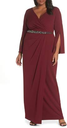 Adrianna Papell Beaded Waist Faux Wrap Gown