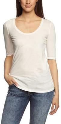 Bobi Women's Crew Neck 3/4 sleeve T-Shirt - Off-white