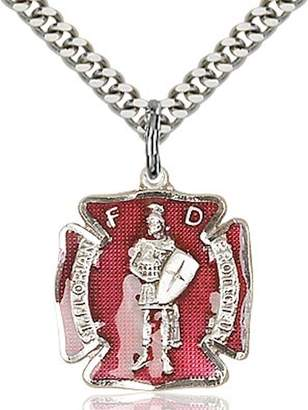 Florian All Souls Sterling Silver St. Pendant - Fire Fighters 3/4 X 5/8