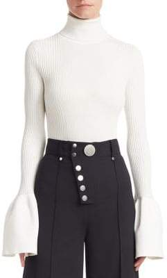 Alexander Wang Ruffled Cuff Ribbed Turtleneck