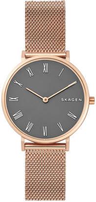Skagen Women Hald Rose Gold-Tone Stainless Steel Bracelet Watch 34mm