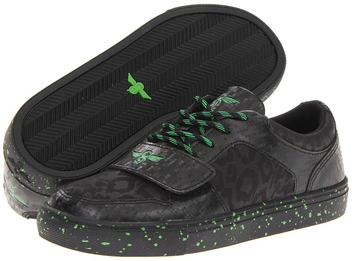 Creative Recreation Cesario Lo X (Little Kid) (Black Tech/Neon Green) - Footwear