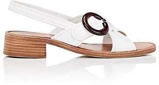 Prada Women's Spazzolato Leather Slingback Sandals - Bianco